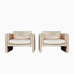 Butacas geométricas de cuero de Robert and Trix Haussmann para Walter Knoll, años 80. Juego de 2