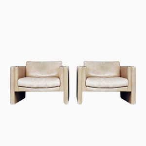 Geometrische Ledersessel von Robert and Trix Haussmann for Walter Knoll, 1980er, 2er Set