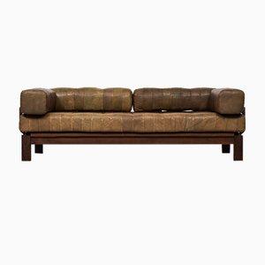 Sofá cama de haya oscura y cuero buffalo, años 60