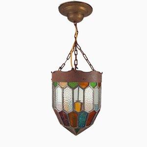 Lámpara colgante vintage de vitral