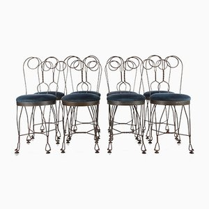 Chaises de Salon Papillon en Fer Forgé, 1960s, Set de 8