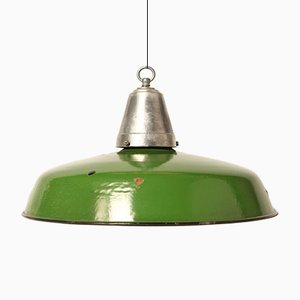 Vintage Green Enameled Lamp
