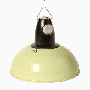 Hellgrüne Emaillierte Vintage Hängelampe