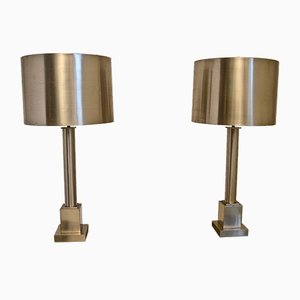 Steel Table Lamps by Maison Charles, Set of 2