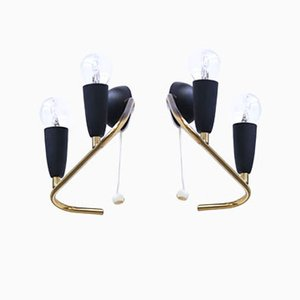 Italian Brass and Black Lacquered Wall Sconces, 1950s, Set of 2