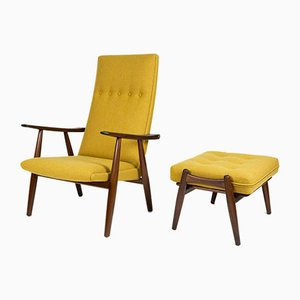 GE-260 Teak Chair & GE-240 Ottoman by Hans Wegner for Getama, 1960s