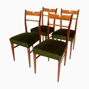 Italian Wood & Green Velvet Dining Chairs, 1950s, Set of 4