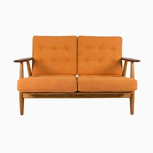 Mid-Century GE-240 Oak & Teak Cigar Sofa by Hans J. Wegner for Getama