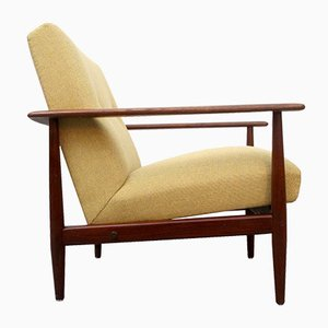 Vintage Teak Armchair with Yellow Upholstery, 1960s