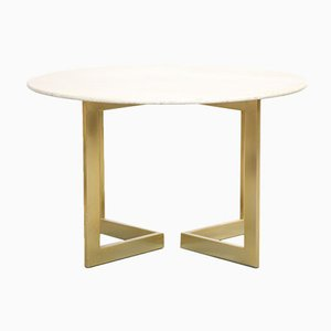 Vintage Italian Travertine Round Dining Table, 1970s