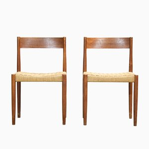 Danish Teak Chairs with Woven Seats, 1960s, Set of 2