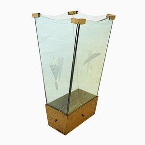 Italienischer Glas & Eisen Schirmständer, 1950er