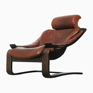 Vintage Swedish Leather Kroken Chair by Ake Fribyter for Nelo