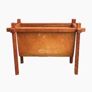 Vintage Danish Teak & Leather Magazine Rack from Skjode, 1950s