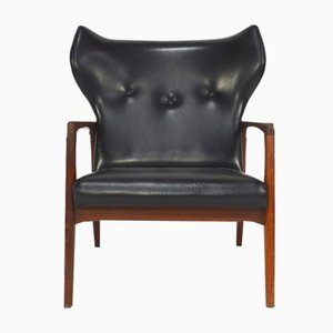 Fauteuil Lounge Wingback Mid-Century Scandinave,1950s