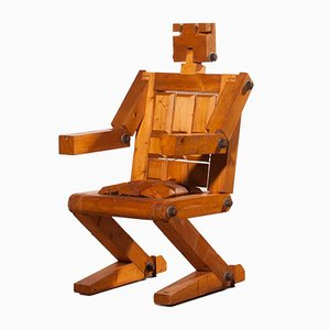 Chaise Robot en Pin, 1970s