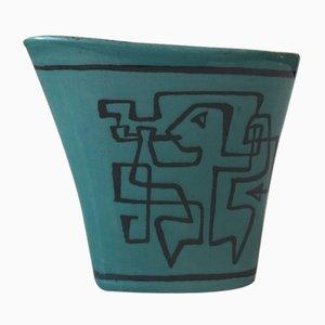 Vaso all'avanguardia in ceramica con fantasia blu di Gunnar Nylund per Nymølle Denmark, 1964