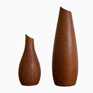 Vases Mid-Century en Teck de Lindholm, Finlande, 1960s, Set de 2