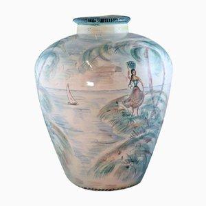 Jarrón de suelo Am Meer pintado a mano de Ulmer Keramik