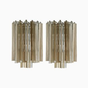 Round Italian Triedri Sconces from Venini, 1960s, Set of 2