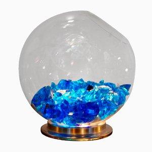 Lampada in vetro di Murano con cristalli blu, Italia, anni '80