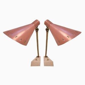 Lampes de Table Roses, 1950s, Set de 2
