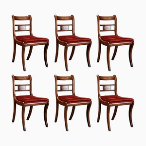 English Rosewood and Mahogany Chairs, Set of 6