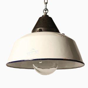 Lámpara colgante vintage de hierro fundido esmaltado en blanco
