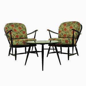 Vintage Chairs with Small Table from Ercol
