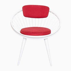 Sedia Circle rossa e bianca di Yngve Ekstrom per Swedese, anni '60