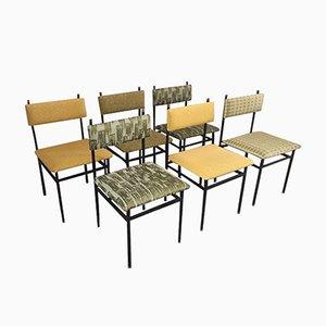 Italienische Industrielle Esszimmerstühle mit Dedar Bezug, 1960er, 6er Set