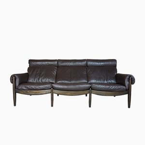 Vintage Leather and Oak 3-Seater Sofa