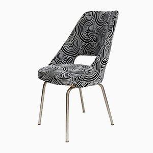 Chaise d'Appoint Vintage avec Tissu Noir et Blanche