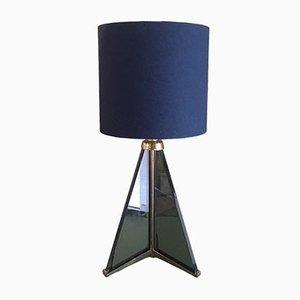 Lámpara de mesa trípode vintage de vidrio, años 70