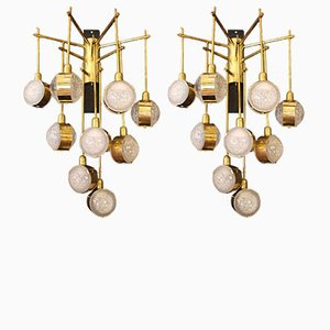 Mid-Century Italian Modern Long Brass & Glass Chandeliers, 1970s, Set of 2
