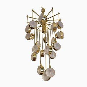 Lámpara de araña italiana Mid-Century moderna de latón y vidrio