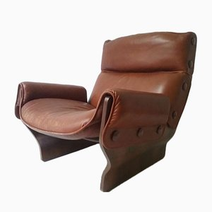 Cognac Canada Lounge Chair by Osvaldo Borsani