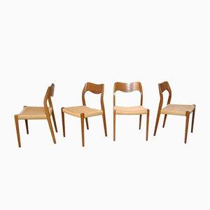 Dänische No.71 Teak Esszimmerstühle von N.O. Møller für J.L. Møllers, 1951, 4er Set
