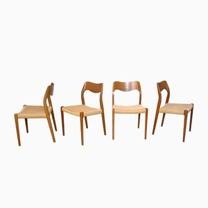 Danish No.71 Teak Dining Chairs by N.O. Møller for J.L. Møllers, 1951, Set of 4