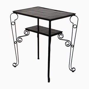 Table d'Appoint Noire Vintage avec Pieds Arqués