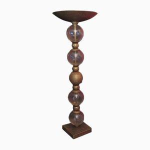 Lámpara de pie italiana de vidrio y latón, años 30