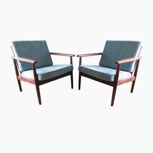 Dänische Solide Teakholz Armlehnstühle mit Runden Beinen, 1960er, 2er Set
