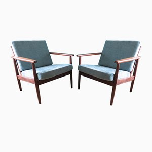 Danish Solid Teak Armchairs with Rounded Legs, 1960s, Set of 2