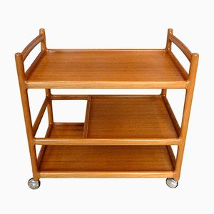 Teak Serving Bar Cart by Johannes Andersen for CFC Silkeborg, 1960s