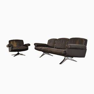 Sofá de tres plazas y sillón giratorio DS 31 suizos vintage de de Sede, años 70