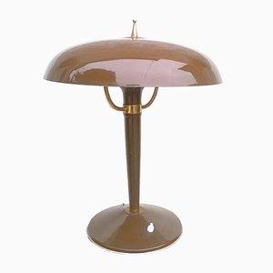 Lámpara de mesa italiana vintage marrón, años 50