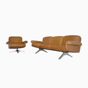 Swiss DS 31 Three-Seater Sofa & Armchair from de Sede, 1970s