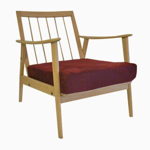 Easy Chair Vintage en Hêtre et en Tissu Rouge