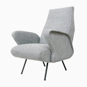 Italian Grey Cotton Lounge Chair, 1950s