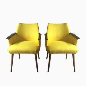 Canary Yellow Armchairs, 1950s, Set of 2